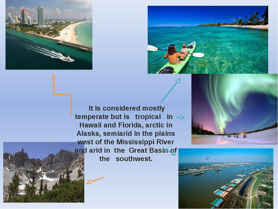 It is considered mostly temperate but is tropical in Hawaii and Florida, arct...