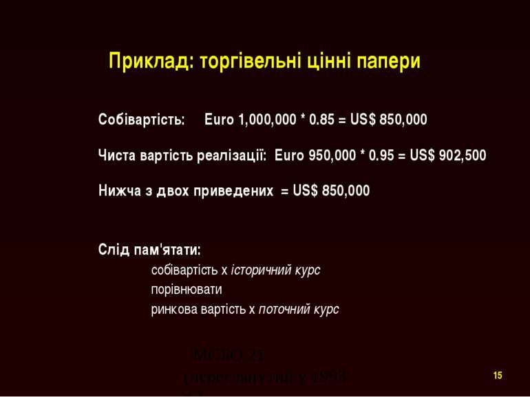 Приклад: торгівельні цінні папери Собівартість: Euro 1,000,000 * 0.85 = US$ 8...