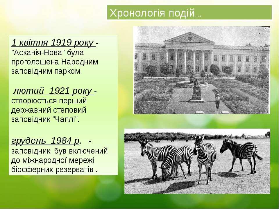 """Хронологія подій… 1 квітня 1919 року - """"Асканія-Нова"""" була проголошена Народн..."""