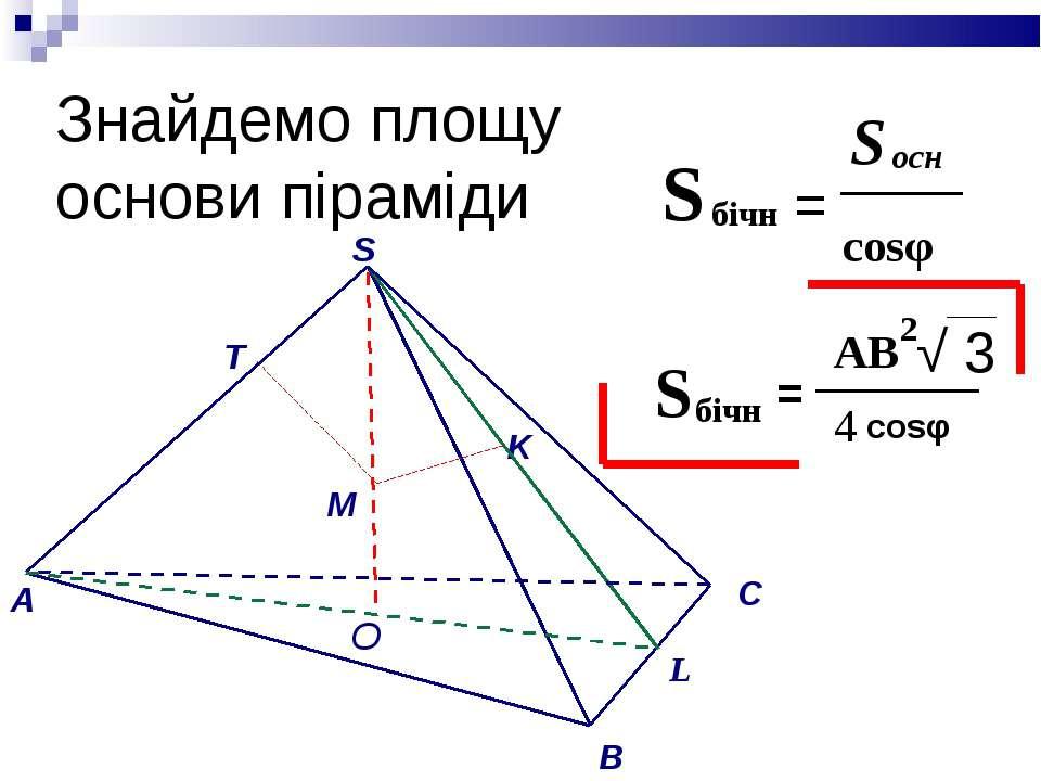 Знайдемо площу основи піраміди = √ 3 O