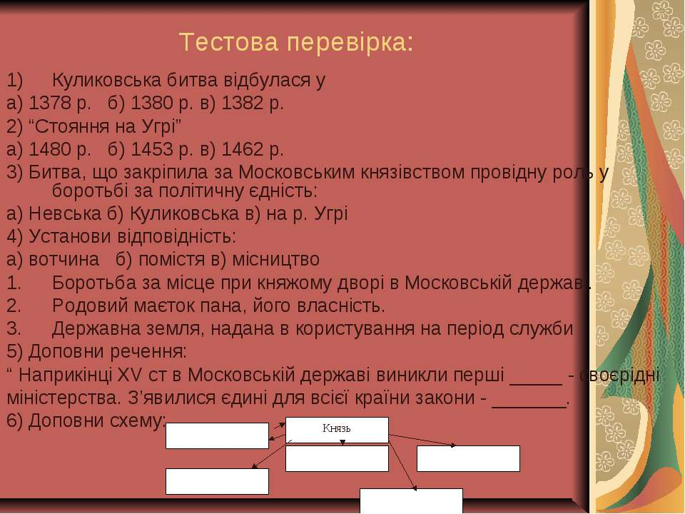 Тестова перевірка: Куликовська битва відбулася у а) 1378 р. б) 1380 р. в) 138...