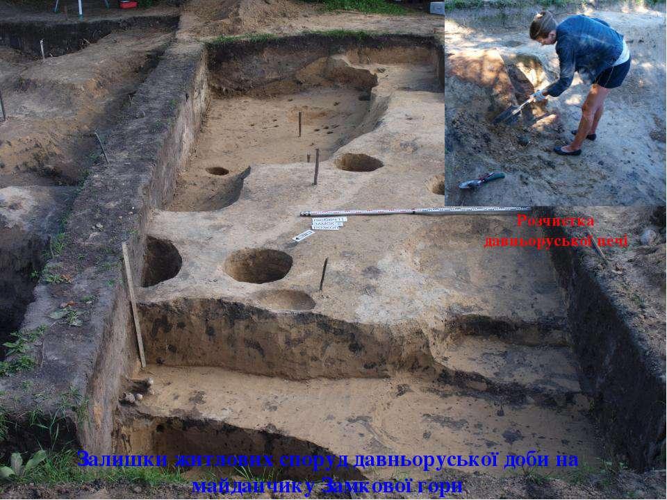 Розчистка давньоруської печі Залишки житлових споруд давньоруської доби на ма...