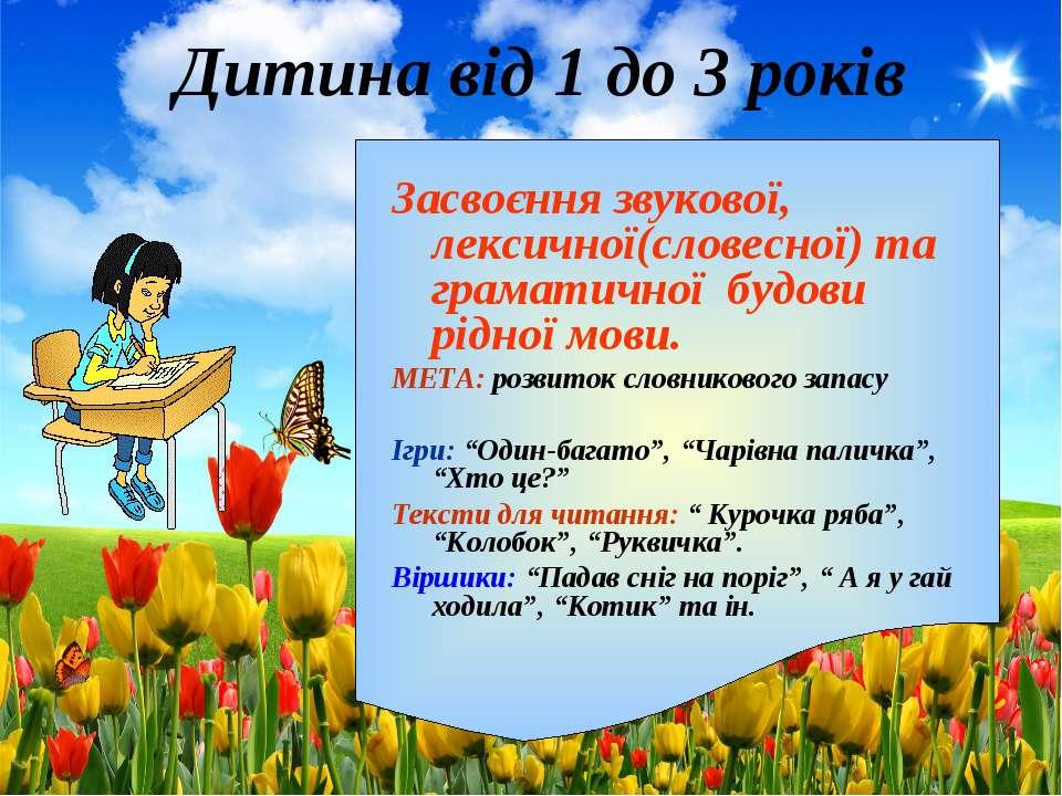 Дитина від 1 до 3 років Засвоєння звукової, лексичної(словесної) та граматичн...