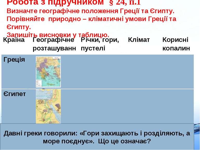 Робота з підручником § 24, п.1 Визначте географічне положення Греції та Єгипт...