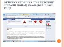 """ФЕЙСБУК СТОРІНКА """"ТАБЛЕТОЧКИ"""" ЗІБРАЛИ ПОНАД 100 000 ДОЛ. В 2012 РОЦІ"""