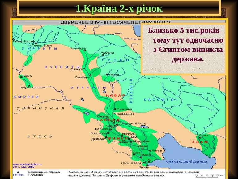 1.Країна 2-х річок Близько 5 тис.років тому тут одночасно з Єгиптом виникла д...
