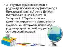 З нерудних корисних копалин є родовища гірського воску (озокериту) в Прикарпа...