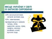 МІСЦЕ УКРАЇНИ У СВІТІ ІЗ ЗАПАСІВ СИРОВИНИ 14% загальносвітових запасів залізн...
