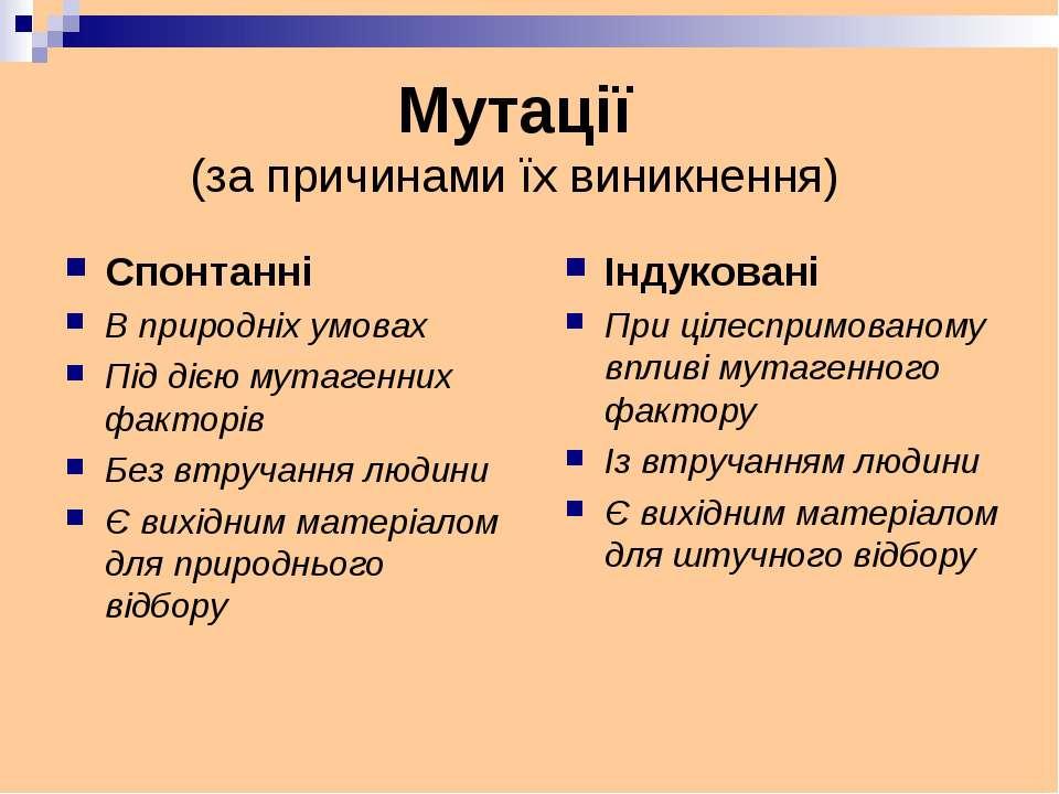 Спонтанні В природніх умовах Під дією мутагенних факторів Без втручання людин...