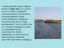 Самым древним озером Африки является озеро Чад, что лежит к югу от Сахары в о...