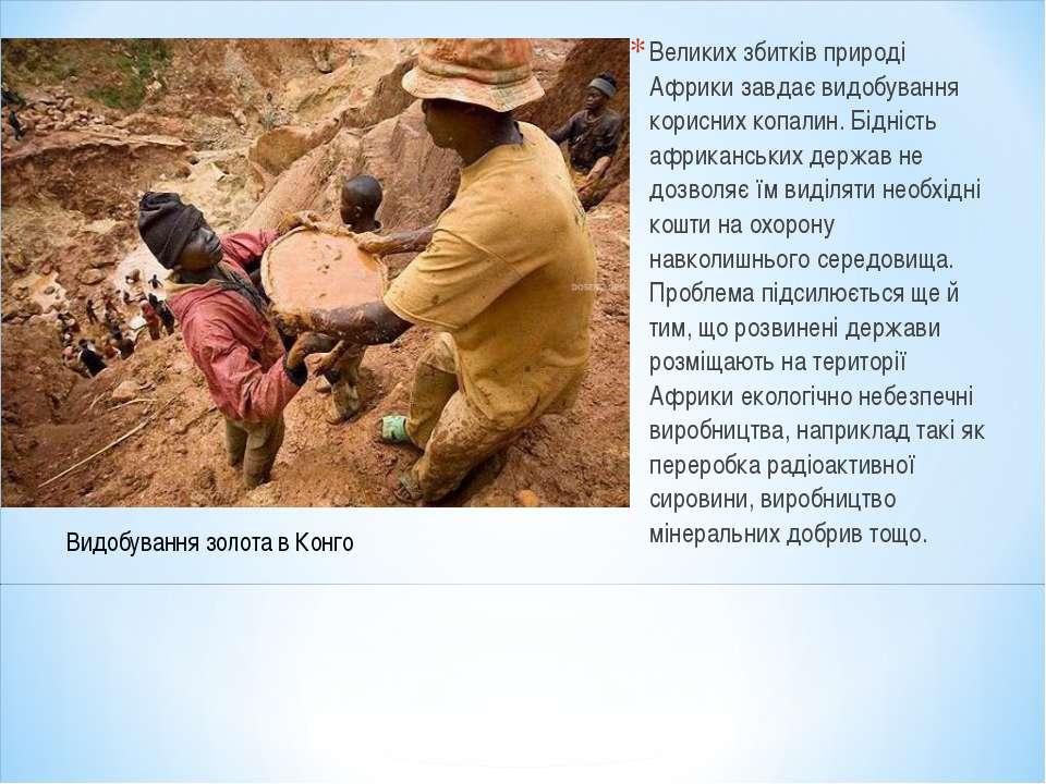 Великих збитків природі Африки завдає видобування корисних копалин. Бідність ...