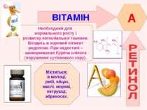ВІТАМІН A Необходний для нормального росту і розвитку епітеліальної тканини. ...