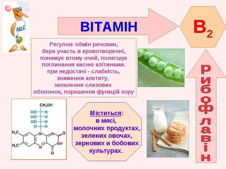 ВІТАМІН B2 Регулює обмін речовин, бере участь в кровотворенні, понижує втому ...