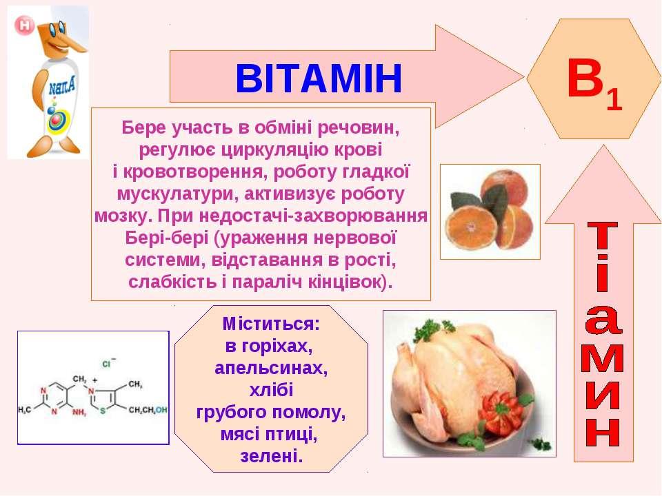 ВІТАМІН B1 Бере участь в обміні речовин, регулює циркуляцію крові і кровотвор...