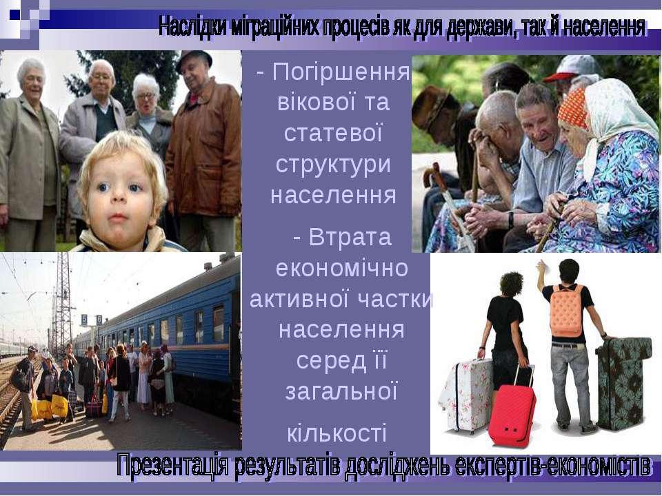 - Погіршення вікової та статевої структури населення - Втрата економічно акти...