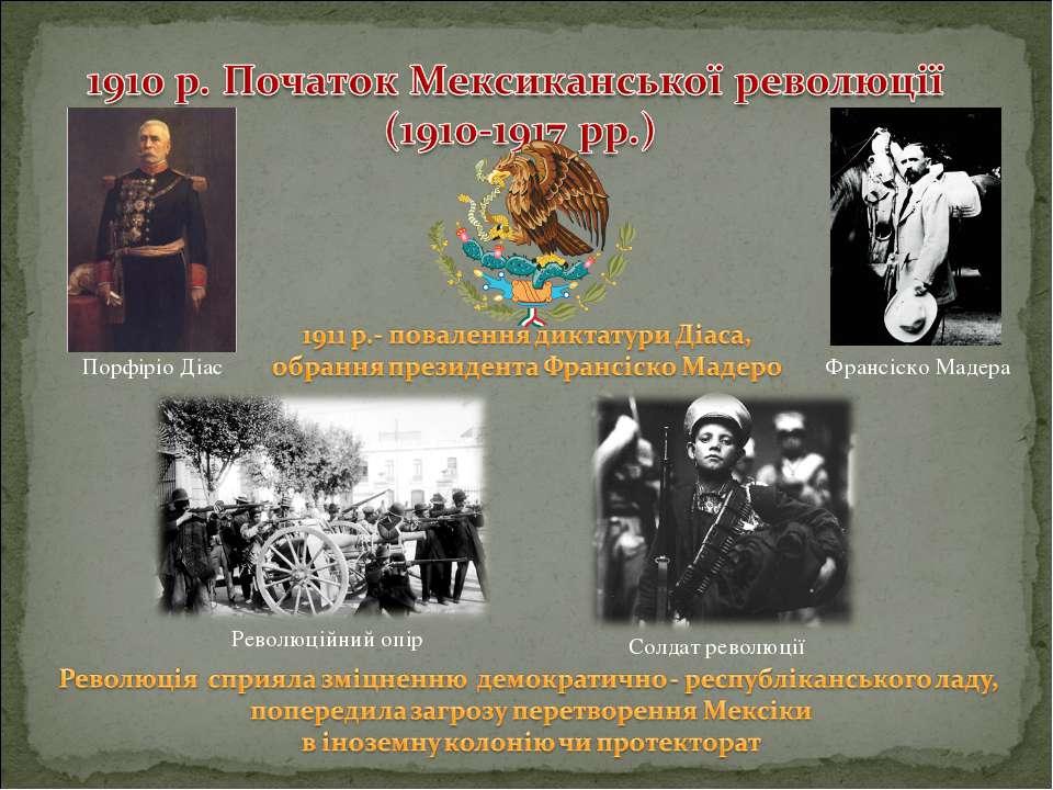 Революційний опір Порфіріо Діас Франсіско Мадера Солдат революції