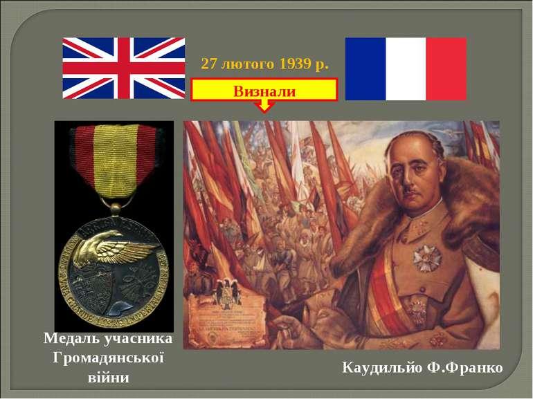Каудильйо Ф.Франко Визнали 27 лютого 1939 р. Медаль учасника Громадянської війни