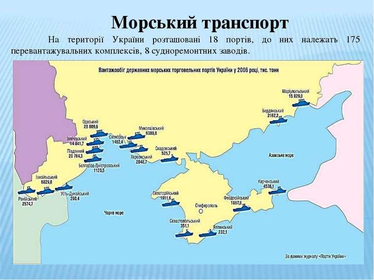 Морський транспорт На території України розташовані 18 портів, до них належат...
