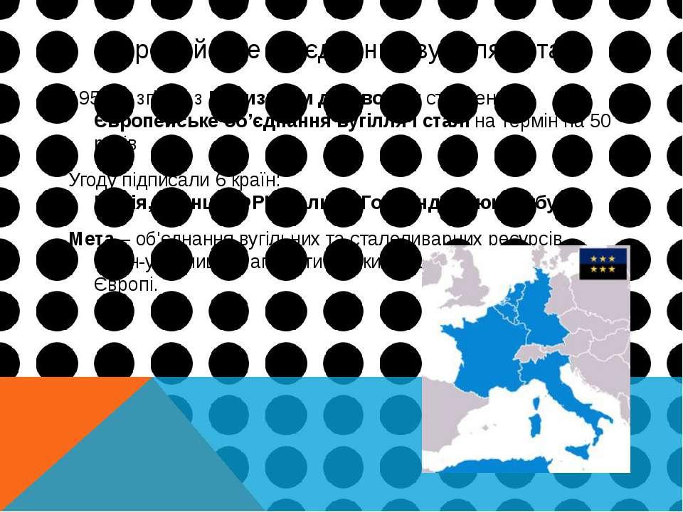 Європейське об'єднання вугілля і сталі 1951 р. згідно з Паризьким договором с...