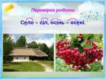 Перевірка роботи Село – сіл, осінь – осені.