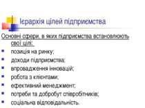 Ієрархія цілей підприємства Основні сфери, в яких підприємства встановлюють с...
