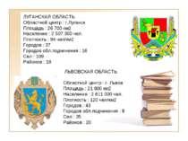 ЛУГАНСКАЯ ОБЛАСТЬ Областной центр : г.Луганск Площадь : 26 700 км2 Население ...