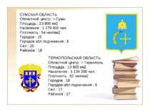 СУМСКАЯ ОБЛАСТЬ Областной центр : г.Сумы Площадь : 23 800 км2 Население : 1 2...