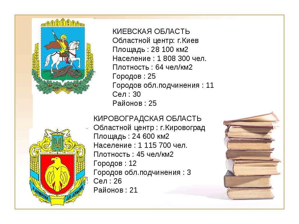 КИЕВСКАЯ ОБЛАСТЬ Областной центр: г.Киев Площадь : 28 100 км2 Население : 1 8...