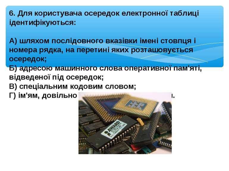 6. Для користувача осередок електронної таблиці ідентифікуються: А) шляхом по...