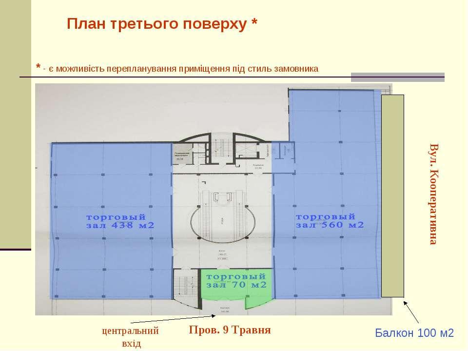 План третього поверху * Вул. Кооперативна Пров. 9 Травня центральний вхід * -...