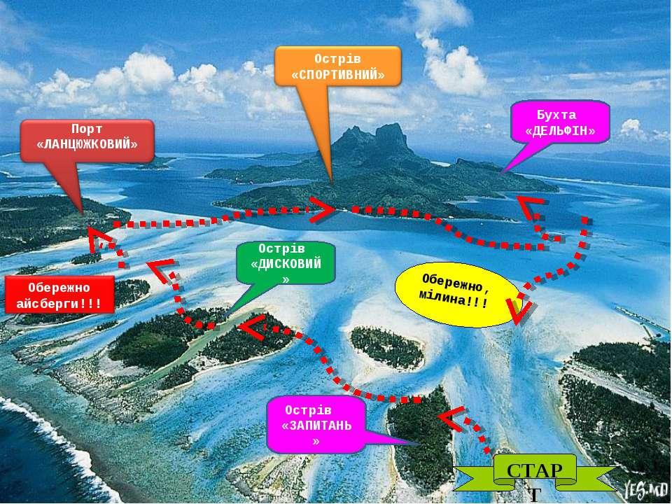 СТАРТ Острів «ЗАПИТАНЬ» Острів «ДИСКОВИЙ» Бухта «ДЕЛЬФІН» Обережно, мілина!!!