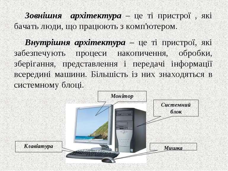 Зовнішня архітектура – це ті пристрої , які бачать люди, що працюють з комп'ю...