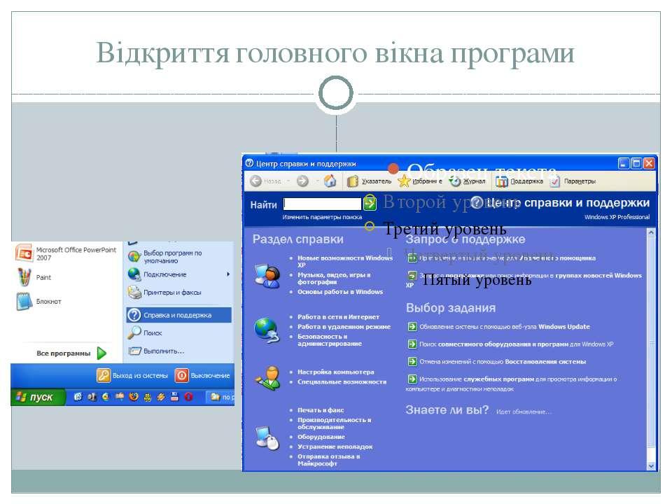 Відкриття головного вікна програми