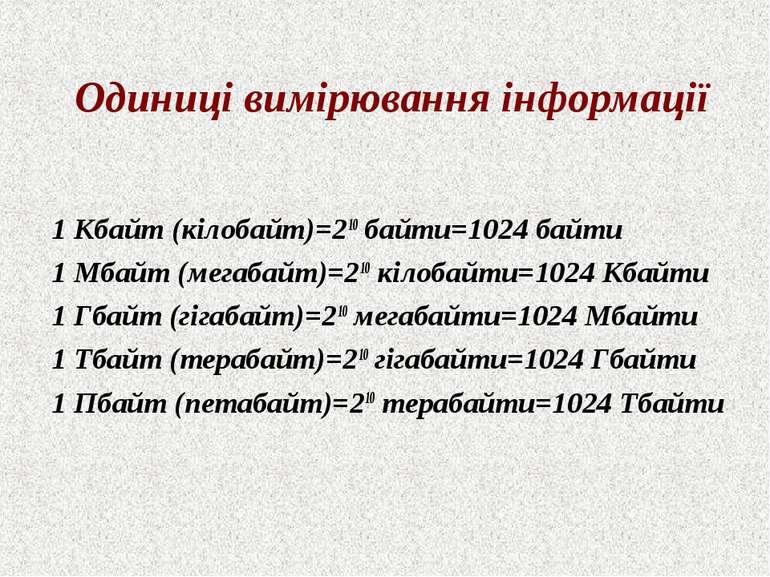 Одиниці вимірювання інформації 1 Кбайт (кілобайт)=210 байти=1024 байти 1 Мбай...