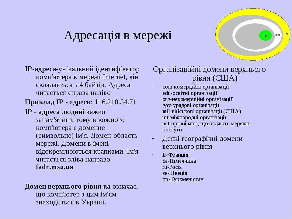 Адресація в мережі IP-адреса-унікальний ідентифікатор комп'ютера в мережі Int...