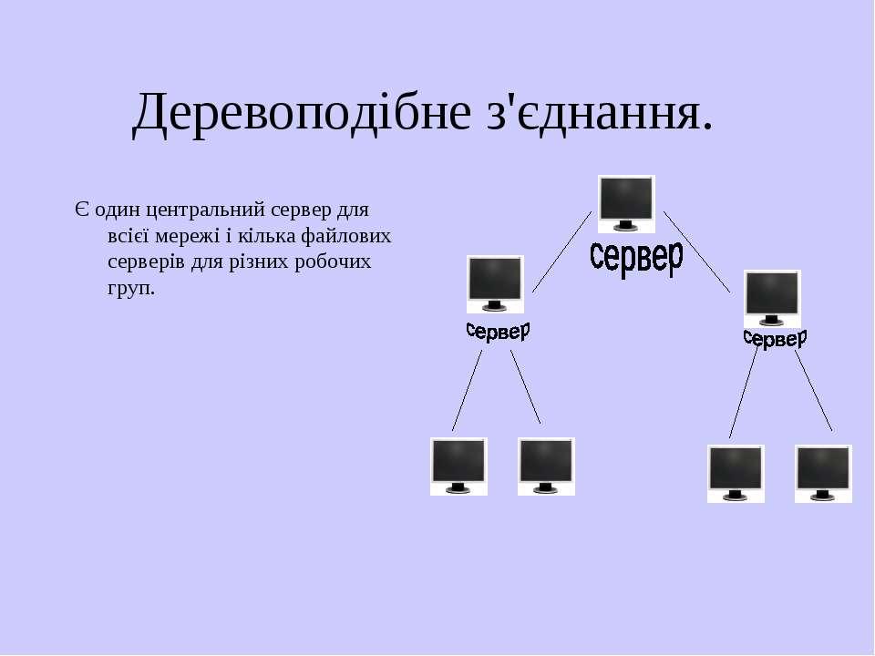 Деревоподібне з'єднання. Є один центральний сервер для всієї мережі і кілька ...