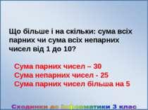 Що більше і на скільки: сума всіх парних чи сума всіх непарних чисел від 1 до...