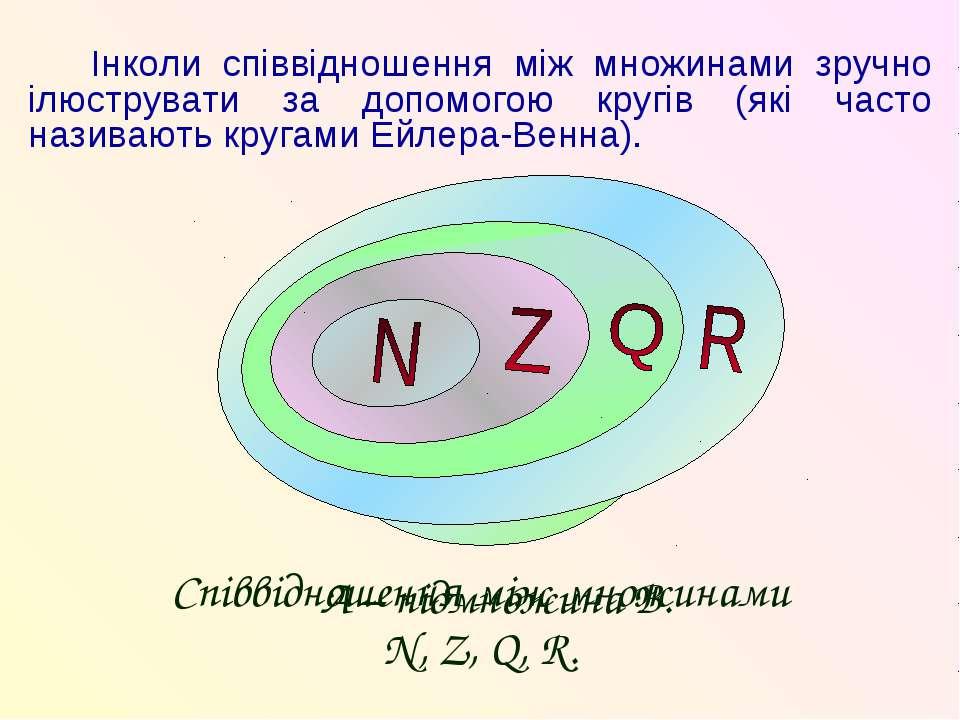 Інколи співвідношення між множинами зручно ілюструвати за допомогою кругів (я...