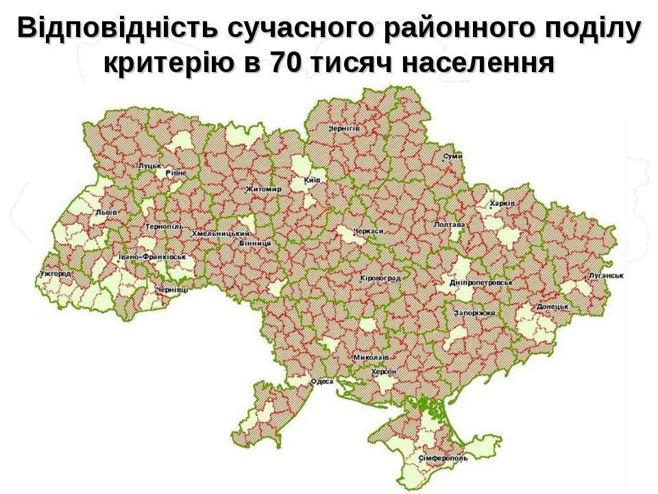 Відповідність сучасного районного поділу критерію в 70 тисяч населення