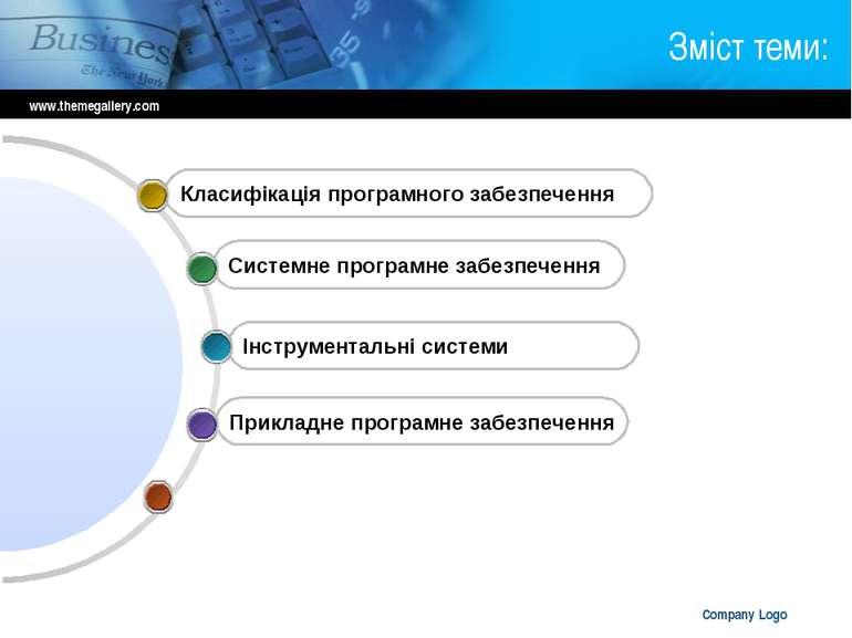 www.themegallery.com Company Logo Зміст теми: Прикладне програмне забезпеченн...