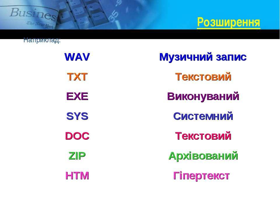 Розширення Наприклад: WAV Музичний запис TXT Текстовий EXE Виконуваний SYS Си...