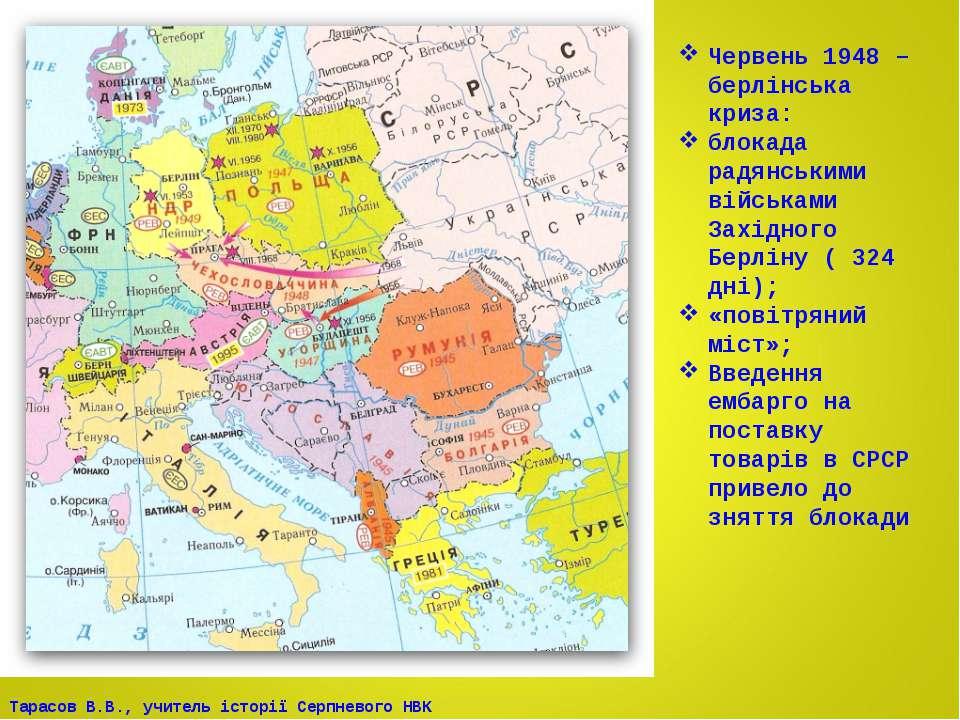 Червень 1948 – берлінська криза: блокада радянськими військами Західного Берл...