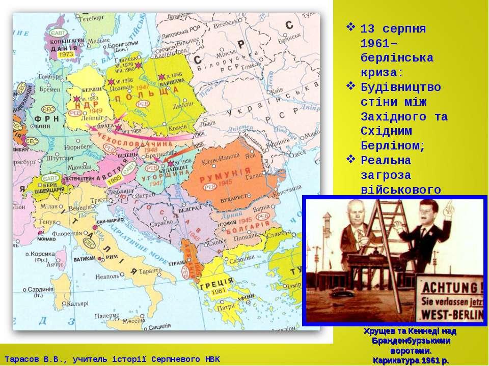 13 серпня 1961– берлінська криза: Будівництво стіни між Західного та Східним ...