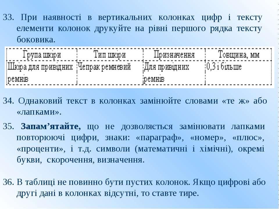 33. При наявності в вертикальних колонках цифр і тексту елементи колонок друк...