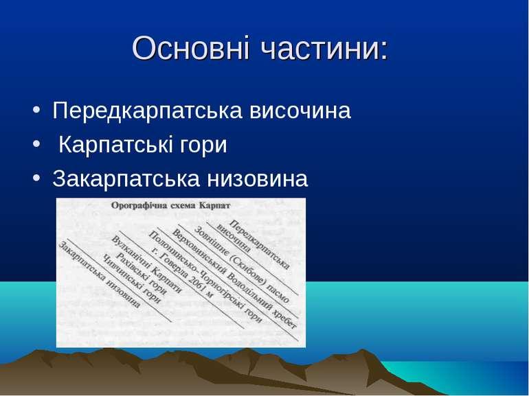 Основні частини: Передкарпатська височина Карпатські гори Закарпатська низовина
