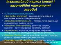 Інгаляційний наркоз (леткі і газоподібні наркотичні засоби) А. Леткі наркотич...