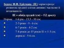Індекс Ф.Ф. Ерісмана (ІЕ) характеризує розвиток грудної клітки дитини і частк...