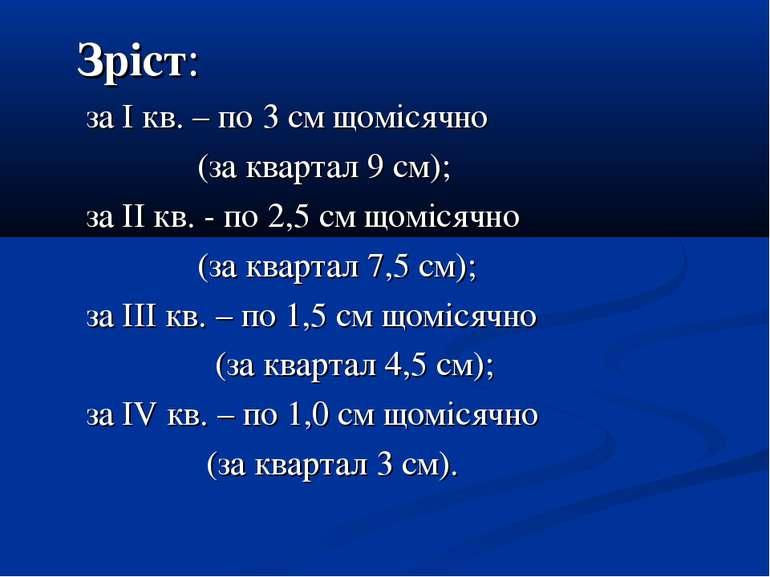 Зріст: за І кв. – по 3 см щомісячно (за квартал 9 см); за ІІ кв. - по 2,5 см ...