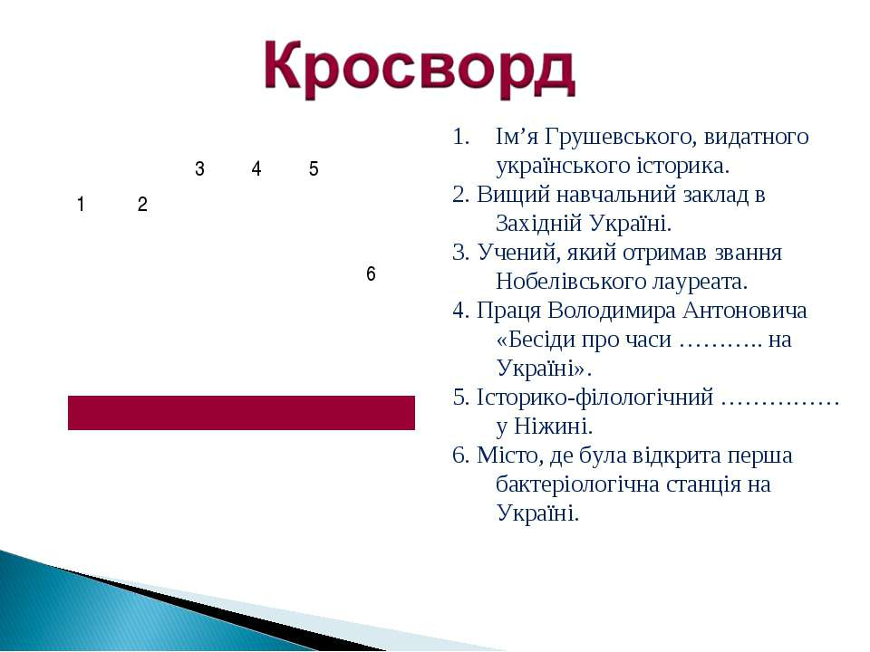 Ім'я Грушевського, видатного українського історика. 2. Вищий навчальний закла...