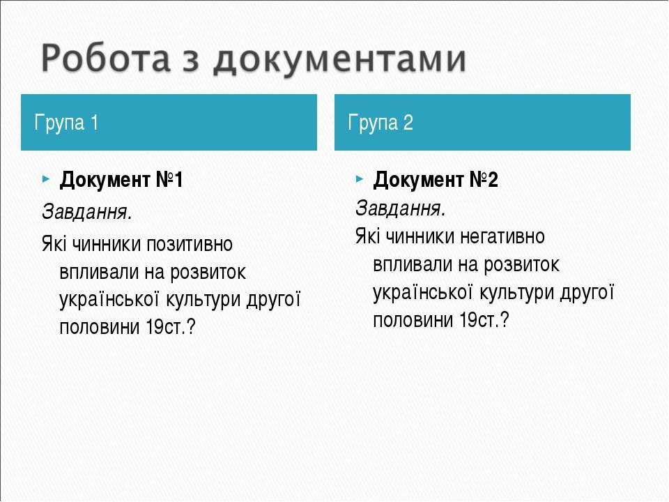 Група 1 Документ №1 Завдання. Які чинники позитивно впливали на розвиток укра...